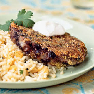 Cuban Black Bean Patties with Pineapple Rice.