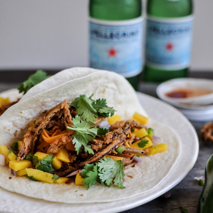 Crockpot BBQ Beer Pulled Pork Tacos with Crispy Onion Straws and Mango Salsa Recipe