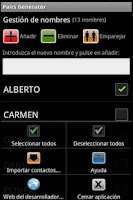 Screenshot of Generador de Parejas FREE