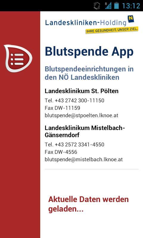 BlutspendeApp- screenshot