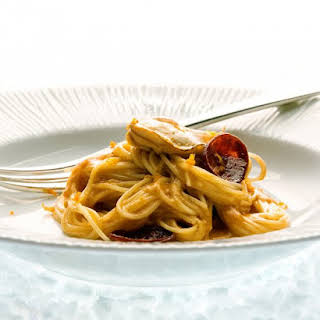 Angel-Hair Pasta with Sauteed Oysters and Chorizo.