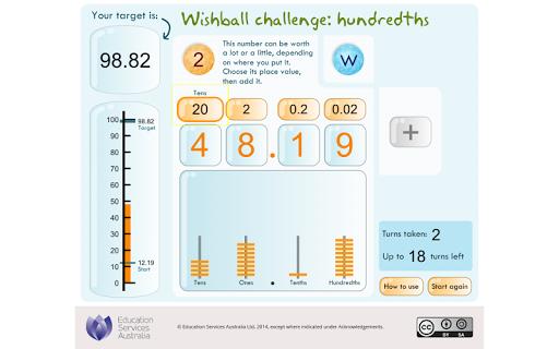 Wishball challenge: hundredths
