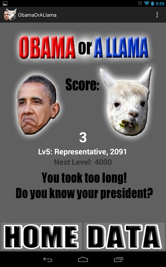 Obama or a Llama - screenshot