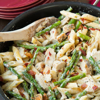Creamy Chicken and Asparagus Pasta.