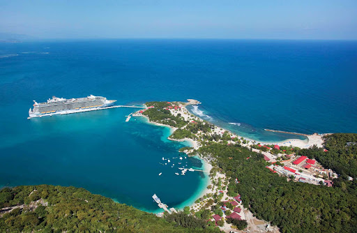An aerial view of Labadee, Haiti, Royal Caribbean's 260-acre private beach playground on Haiti's north coast.