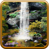 3D Autumn Waterfall Wallpaper