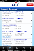 Screenshot of Citibank UAE