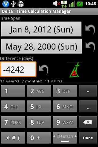 DeltaT Date Calculator- screenshot