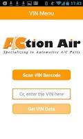 Screenshot of Action Air - VIN Barcode Scan