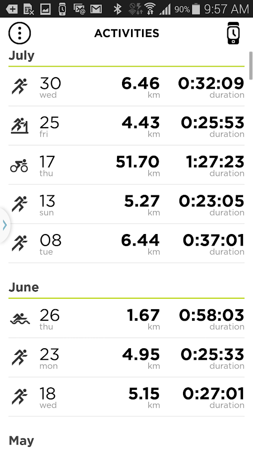 TomTom MySports- screenshot