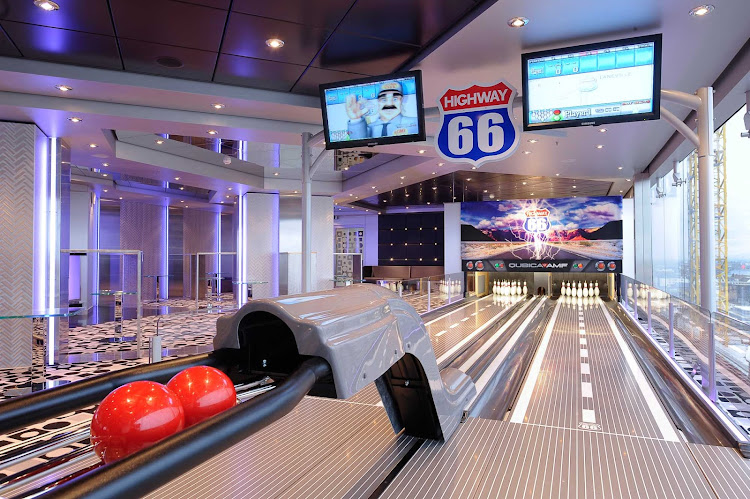 Have some fun with family and friends in MSC Magnifica's bowling alley.