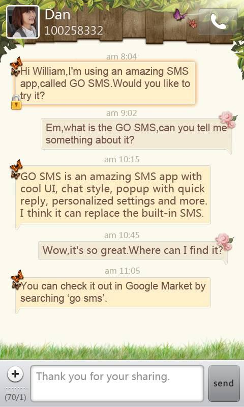 GO SMS Pro Springtime theme- screenshot