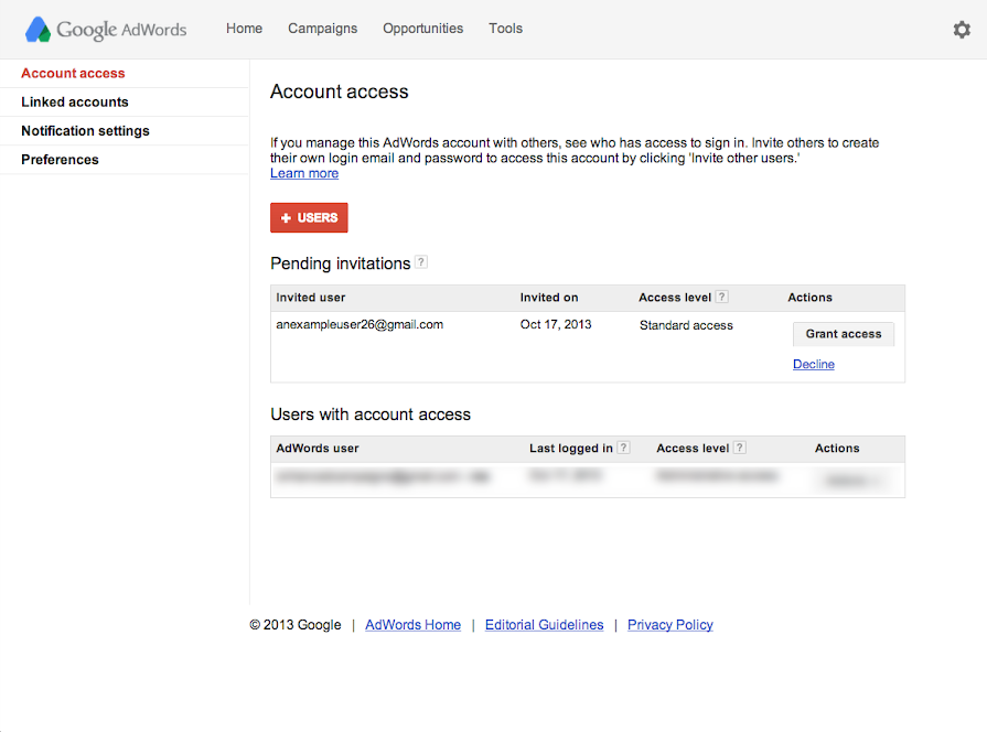 Grant account access