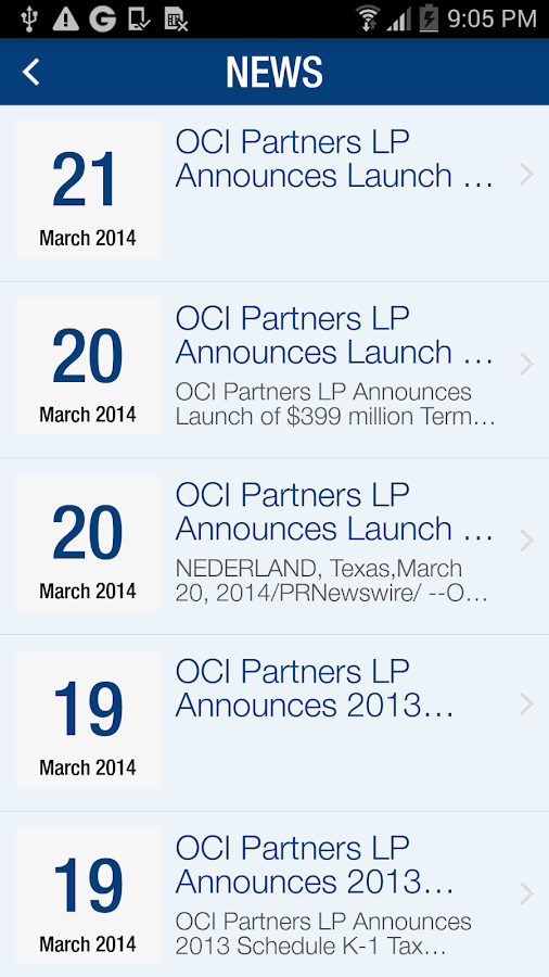 OCI Partners LP IR- screenshot