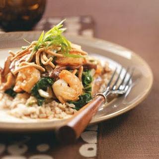Shrimp & Shiitake Stir-Fry with Crispy Noodles.