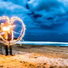 love by GUILLAUME FUNFROCK - Digital Art People ( love, sand, heart, blue, paint lighting, beach )