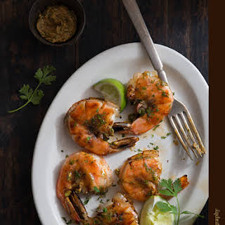 Grilled Shrimp with Ancho Chili Lime Cilantro Butter.