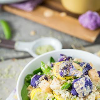 Spring Veggie Bowl with Jade Pearl Rice, Kohlrabi, & Coconut Tahini Sauce.