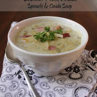 Slowcooker Potato, Kielbasa and Spinach Soup with Gouda.