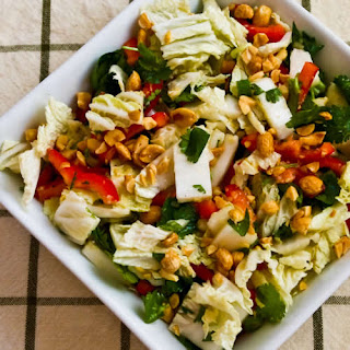 Napa Cabbage Salad with Red Bell Pepper, Cilantro, Peanuts, and Dijon-Ginger Dressing.
