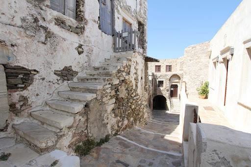 village-naxos-greece - A street scene in a village on the Greek island of Naxos.