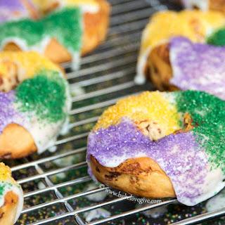 Mini Cinnamon Roll Mardi Gras King Cakes.