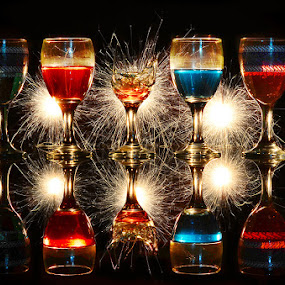 Happy new year 2014 by Irwan Yosi - Artistic Objects Glass ( champagne glasses )