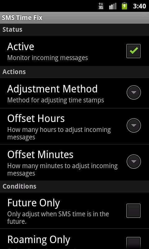 SMS Time Fix - screenshot