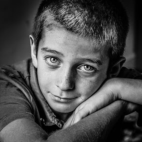 A BOY by Nathalie Gemy - Black & White Portraits & People ( black and white, child photography, child portrait, boy portrait, black and white portrait, boy, kid )
