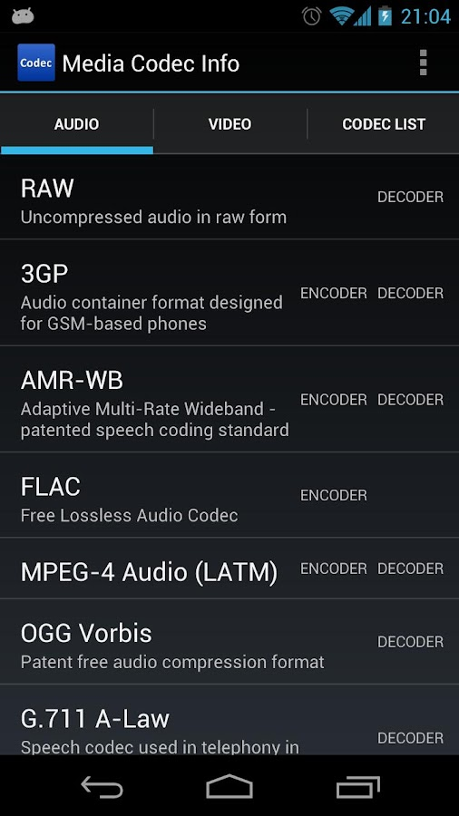 android media codec decoder - FREE ONLINE