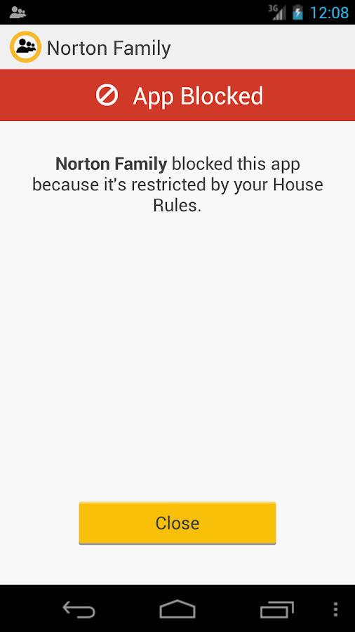 Norton Family parental control - screenshot