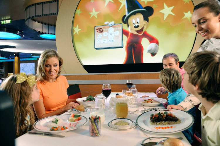 Have dinner at Animator's Palate, the main restaurant aboard Disney Fantasy located on deck 3 toward the rear, surrounded by Disney animation artwork. Dinners include a show featuring Disney characters.