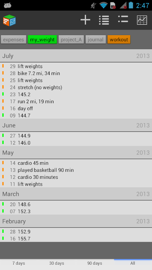 Trackit Notebook - screenshot
