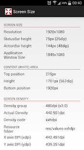 Screen Size and Density- screenshot thumbnail