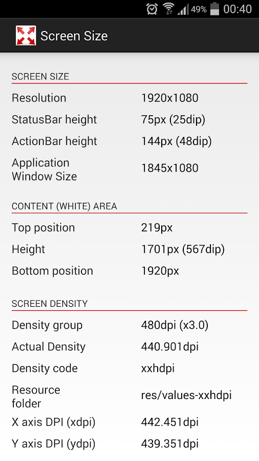 Screen Size and Density- screenshot