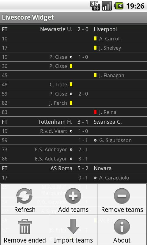 Football Livescore Widget - screenshot
