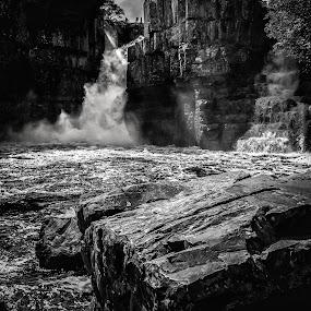 High Force by John Ash - Black & White Landscapes ( tees, b&w, waterfall, rocks, river,  )