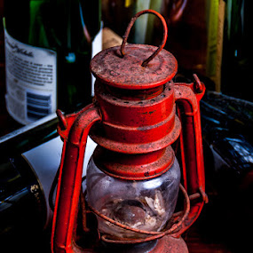 Red Lantern by Chuck Vinson - Artistic Objects Other Objects ( wine, lantern, red, fine art, bottles, antique,  )