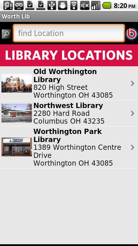 Worthington Libraries- screenshot