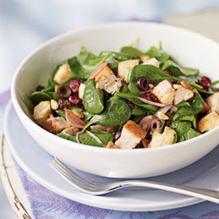 Bread Salad with Cranberries, Spinach, and Chicken