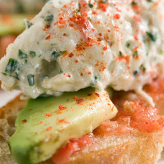 Crab Toasts with Avocado and Espelette.