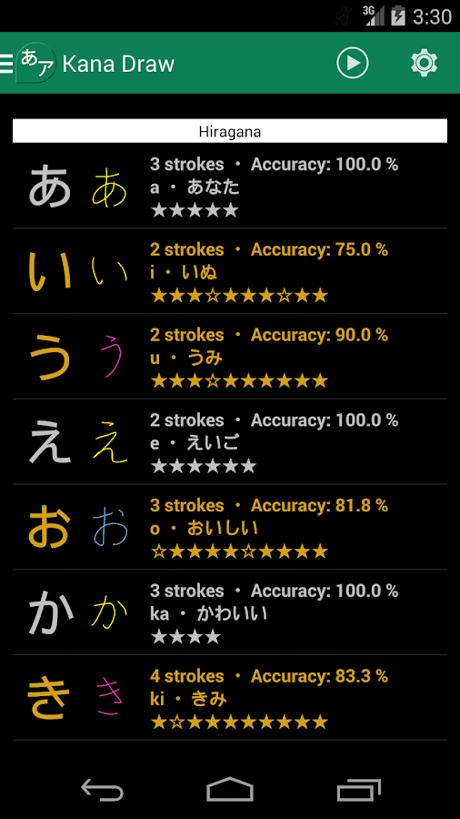 Hiragana writing app