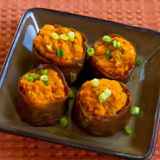Twice-Baked Sweet Potato Cups with Sour Cream, Chipotle, and Lime.