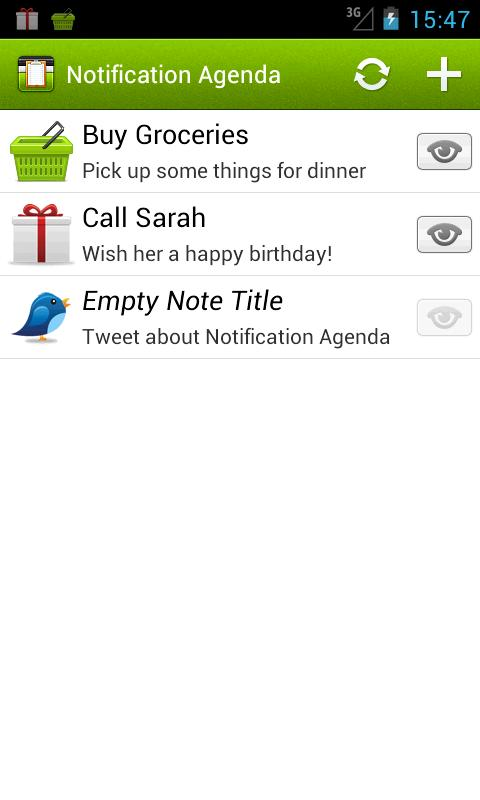 Notification Agenda - screenshot