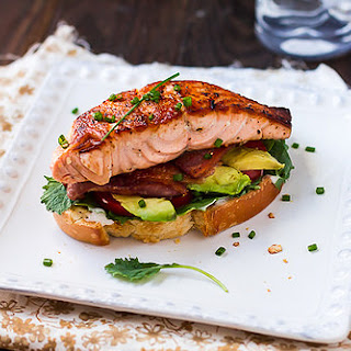 Open-Faced Salmon Avocado BLTs.