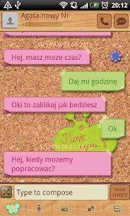 GO SMS Sweet Pinboard Theme