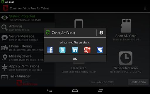 玩工具App|Zoner AntiVirus Free - Tablet免費|APP試玩