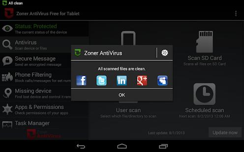 Zoner AntiVirus - Tablet - screenshot thumbnail