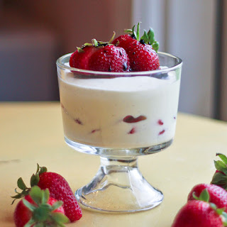White Chocolate Mousse with Strawberries and Strawberry Balsamic Vinegar