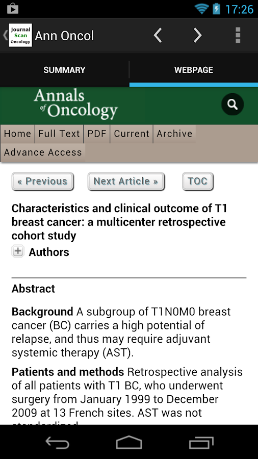 Journal Scan Oncology- screenshot